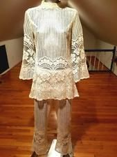 Vintage 1960's French handmade needle Fillet Lace ensemble bell bottom/tunic