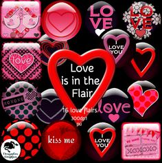 Love is in the Flair collection of 16 love button flairs - $0.00 : ScrapPNG, Digital Craft Graphics