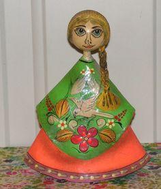 Vintage L Nuno Mexico Paper Mache Doll Statue Figure $25.00 thecraftstar.com