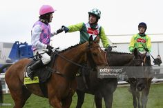 Sam Thomas on Denman (centre) is congratulated by Tony McCoy on Exotic Dancer (left) as Ruby Walsh on Kauto Star (right) looks on after Denman's victory in The totesport Cheltenham Gold Cup Steeple Chase at Cheltenham Racecourse on March 14, 2008 in Cheltenham, England. Today is the final day of The Annual National Hunt Festival held at the Gloucestershire track.