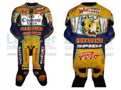 Fabrizio Pirovano Suzuki Corona Leather Suit 1998 WSBK  https://www.leathercollection.com/en-we/fabrizio-pirovano-suzuki-corona-leather-suit-1998-wsbk.html  #Corona_Suit, #Fabrizio_Pirovano_Suzuki_Corona_Leather_Suit_1998_WSBK, #Suzuki_Leather_Suit