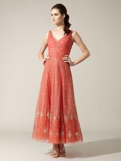 Gorgeous. Reem Acra tulle metallic embroidered dress