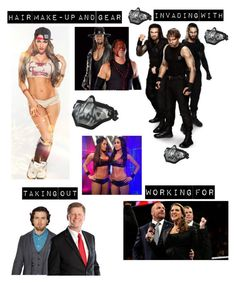 """Kaitlyn, The Bella Twins, The Shield, The Undertaker and Kane Taking out Brad Maddox and John Larinaitis for The Authority"" by kaitlyngilmore ❤ liked on Polyvore featuring Kane"