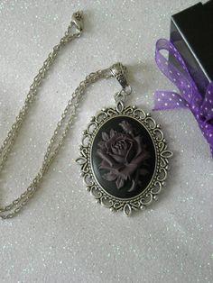 Deep Purple Rose antique silver Necklace by OctoberPetals on Etsy, $17.50