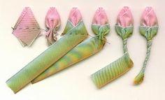 Very sweet ribbon rosebuds. Add to ribbon corsage. - Very sweet ribbon rosebuds. Add to ribbon corsage. Ribbon Art, Ribbon Crafts, Fabric Ribbon, Flower Crafts, Fabric Flowers, Fabric Crafts, Sewing Crafts, Ribbon Flower, Wired Ribbon