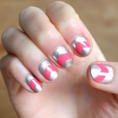 A simple DIY for pink and silver chevron nail art.