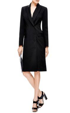 M'O Exclusive: Satin-Trimmed Tuxedo Coat Dress by Josh Goot Tuxedo Coat, Tailored Coat, Double Breasted Coat, Coat Dress, Dresses For Work, Satin, Jackets, Coats, Shopping