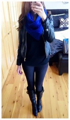 Fall outfit- black Cotton On leggings, top, and cobalt blue scarf with tall black boots from Baker's and a studded jacket from Forever 21