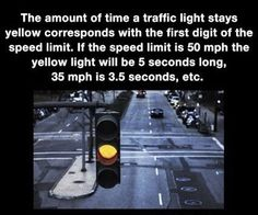 ﴾͡๏̯͡๏﴿ Its a Fact.maybe on paper, I know for a fact that in my city the timers are different so people can get caught by red light cameras. Wtf Fun Facts, True Facts, Funny Facts, Random Facts, Crazy Facts, Random Stuff, Random Things, Useless Knowledge, Knowledge Is Power