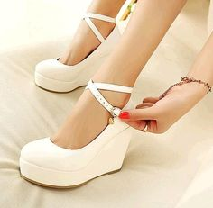 2e54c336cd5  Visit to Buy  Akexiya White Wedges Shoes Pumps For Women Wedges High Heels  Wedges Pumps White High Heels Shoes Platform Wedges Heels