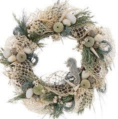 Our beautiful coastal, beach wreath with playful seahorse makes a nautical statement in the home. Coastal Wreath, Seashell Wreath, Nautical Wreath, Seashell Crafts, Beach Crafts, Coastal Decor, Beach Wreaths, Beach Cottage Decor, Summer Wreath