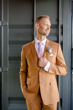 Grab your platform shoes for this groovy 1970s, rainbow-themed wedding that features the coolest arch backdrop and hanging floral lanterns! Wedding Men, Wedding Shoot, Trendy Wedding, Dream Wedding, Groom Attire, Groom And Groomsmen, Modern Groom, Groom Shoes, Bridal Jumpsuit