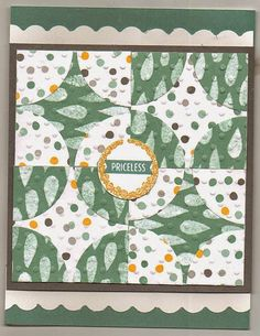 Stampin' Up! ... handmade quilt card from Linda's Crafty World ... circles cut into fours form patterns ... two sided paper for a unified look ...