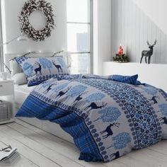 vanocni 20181107 jeleniModri Comforters, Blanket, Bed, Home, Creature Comforts, Quilts, Stream Bed, Ad Home, Blankets