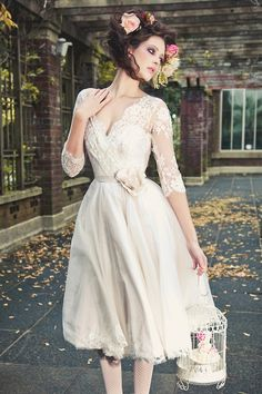 Soft ivory dress with lace overlay on the bodice