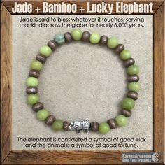 gemstone mala yoga bracelet - GOOD FORTUNE: Jade + Bamboo + Lucky Elephant Yoga Mala Bead Bracelet - Karma Arm. - 1