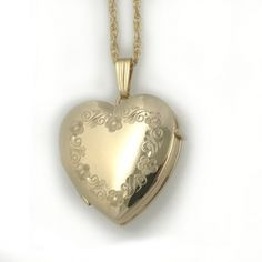 Engraved Four Picture Gold Family Locket