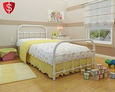White Metal Twin Size Bed Frame Bedroom Furniture Antique Victorian Steel #Generic