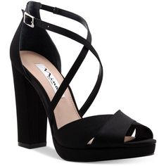 Nina Marylyn Platform Evening Sandals (£70) ❤ liked on Polyvore featuring shoes, sandals, heels, black, strappy block heel sandals, strap heel sandals, block heel sandals, strappy heeled sandals and black sandals
