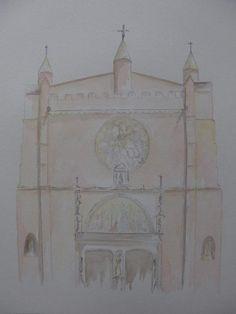 Notre-Dame de la Dalbade - étape des lavis La suite du travail, commencé ici , consiste à poser les couleurs. C'est la partie la plus intéressante mais la plus 'dangeureuse' parce qu'avec l'aquarelle il n'y a pas la possibilité d'effacer ou de recouvrir...