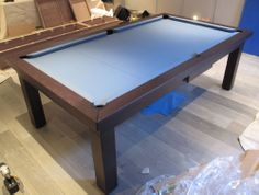 Modern Pool Table In Oak MATT 4 With A Powder Blue Cloth And Leg Number 16