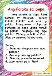 Teacher Fun Files: Filipino Reading Materials with Comprehension Questions 1st Grade Reading Worksheets, First Grade Reading Comprehension, Kindergarten Reading Activities, English Worksheets For Kids, Phonics Reading, Reading Comprehension Worksheets, Comprehension Questions, Reading Passages, Kindergarten Worksheets