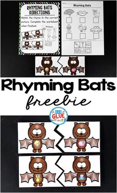 Rhyming Bats is the perfect addition to your literacy centers during the fall and Halloween months. These printables are perfect for kindergarten and first grade. Kindergarten Centers, Kindergarten Reading, Literacy Centers, Rhyming Kindergarten, Kindergarten Freebies, Literacy Stations, Art Centers, Teaching Phonics, Work Stations