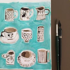 Sepia teacups using my new black walnut ink. #paintingaday #sketchbook…