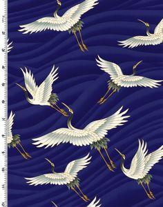 ❤❤❤ Copyrights unknown. Blue Japanese crane fabric.
