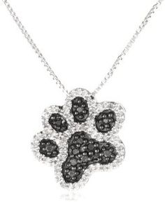 Sterling Silver and Black and White Diamond Dog Paw Pendant Necklace (1/10 cttw, I-J Color, I3 Clarity), 18""