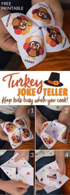 Thanksgiving is full of family & chaos. Print this free Thanksgiving joke teller to kids entertained while you serve dinner. via @brendidblog
