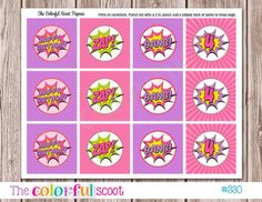 Use for the cake on lollipop sticks? PRINTABLE-Matching Superhero Cupcake Toppers by TheColorfulScoot
