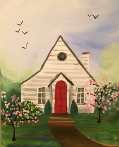 Little house painted summer 2016 at paint and sip event.