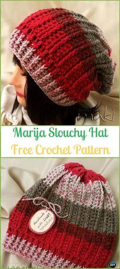 Crochet Marija Slouchy Hat Free Pattern -Crochet Slouchy Beanie Hat Free  Patterns Boina Masculina dec341dc8a5