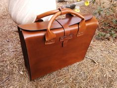 Leather Brief Case Genuine Leather Handmade by HeirloomLeather, $525.00