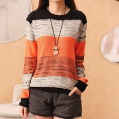 Women's Winter O-Neck Long Sleeve Patchwork Pullover Loose Sweater