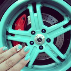 Tiffany blue nails, Tiffany blue TRD wheels on my Scion xB.