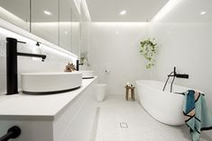 Bathroom highlights from The Block Black and white bathroom. Terrazzo floor in bathroom, modern bathroom, contemporary bathroom, black tapware in bathroom Contemporary Bathroom Designs, Modern Bathroom, Small Bathroom, Bathroom Black, Black Bathtub, White Bathrooms, Luxury Bathrooms, Master Bathrooms, Minimalist Bathroom