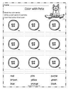 Pete the Cat printables plus 2 more for work with color words