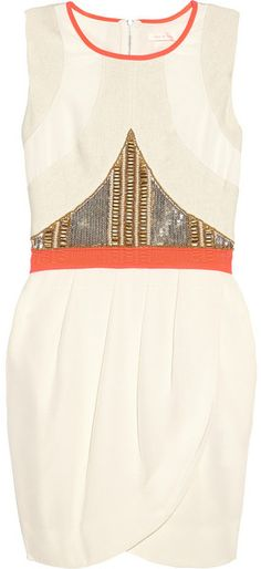 Embellished Silk Crepe De Chine Dress in Orange (cream) - Lyst