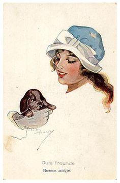 """New Friends"" vintage postcard"