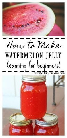 Canning watermelon jelly for beginners. This watermelon jelly is very easy to make and has a wonderfully light melon flavor. Jelly Recipes, Jam Recipes, Canning Recipes, Watermelon Recipes Canning, Recipes Dinner, Lunch Recipes, Drink Recipes, Cooker Recipes, Yummy Recipes