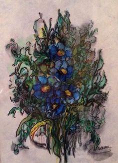 Cuadro flores azules