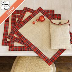 Suzanne Kasler Burlap Plaid Placemats, available at ballarddesigns.com