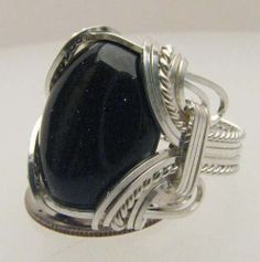Handmade Wire Wrapped Blue Goldstone Sterling Silver by JandSGems, $130.00