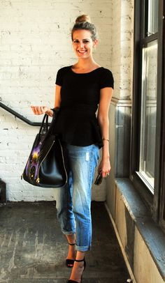peplum, boyfriend jeans, & a fabulous bag