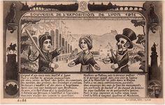 1914......EXPOSITION DE LYON........LE THÉÂTRE DE GUIGNOL............FRANCE............SOURCE DELCAMPE.NET.......Dans leur petit théâtre, le personnage reste le même depuis deux siècles. Aux côtés de sa femme Madelon, Guignol reçoit toujours des coups de bâton et s'oppose à son cousin Gnafron......