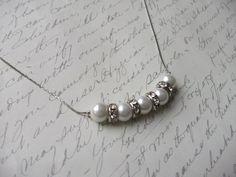Glass pearl necklace on fine chain de la boutique BijouxdeBrigitte sur Etsy
