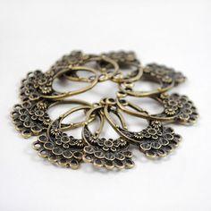Antique Bronze Loose Beads Flower Basket Charm Pendant