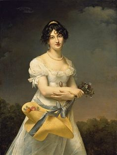 Portrait d'Amélie-Justine Laidin de la Bouterie, née Pontois, tenant un chapeau rempli de fleurs, by Adèle de Romance Romany